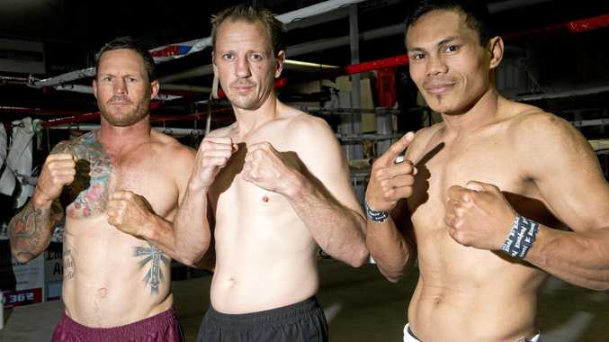Toowoomba boxers (from left) Jamie Hilt, Mick Shaw and Jack Asis get set for the Super8 title at Rumours International on November 25.