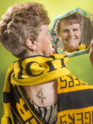 Dustin Martin's grandmother Lois Knight shows off her first tattoo at age 70 to celebrate Richmond's premiership win. Picture: Rob Leeson