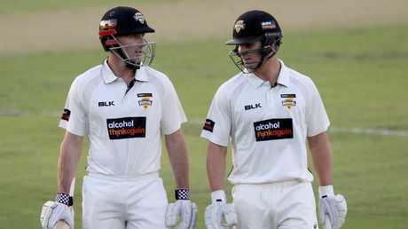 Western Australian batsmen Shaun Marsh and Hilton Catwright on Thursday.