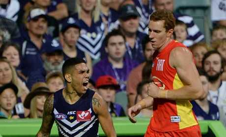 Fremantle has to go all the way to Perth Stadium for its away clash with the Gold Coast Suns. Picture: Daniel Wilkins