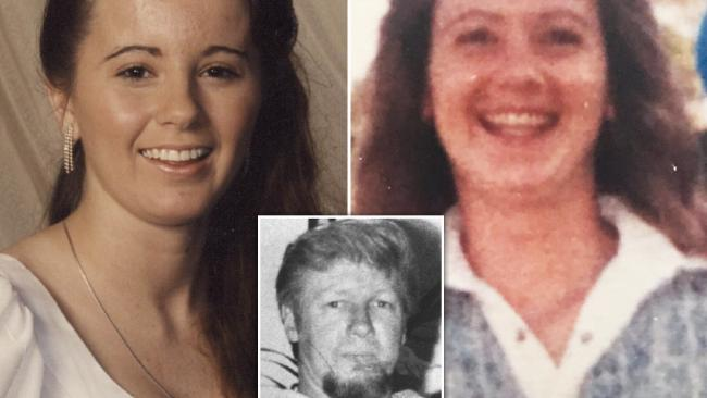 Lisa Gannan (left), Kerryann Gannan (right) and their killer Malcolm Baker, inset. The Gannan sisters and their father Thomas were among six people killed by Baker when he went on a shooting spree on the NSW Central Coast on October 27, 1992.