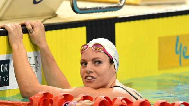 Emily Seebohm in action during the national short course swimming championships. Picture: David Mariuz (AAP)