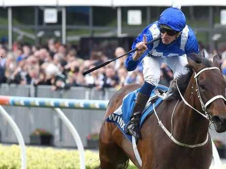 Winx was in a different postcode in last year's Cox Plate. Picture: Nicole Garmston