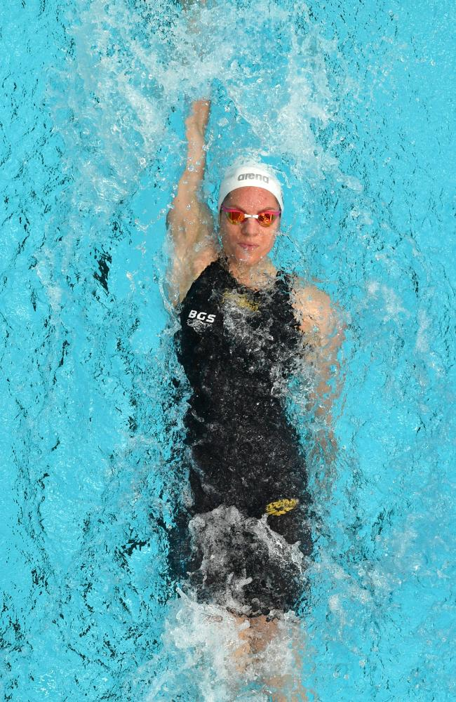 Emily Seebohm won her 24th national gold medal by winning the 100m individual medley at the short course titles in Adelaide on Friday. Picture: David Mariuz (AAP).