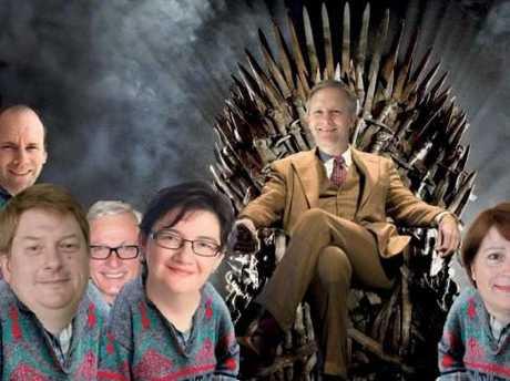 """""""Game of Thrones in cardigans"""" meme of PMSA councillors, doing the rounds. From left: Richard Niessl, Jim Demack, Helen Murray, Greg Adsett, Anne Bennett, Greg Rogers, Greg Skelton, Jacqueline McPherson."""