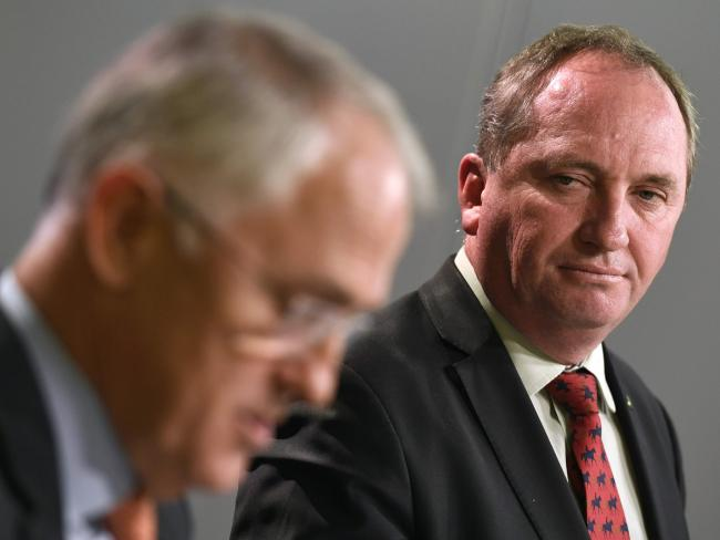 Deputy Prime Minister Barnaby Joyce (right) with Prime Minister Malcolm Turnbull.