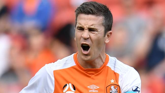 Matt McKay of the Roar reacts to a referee call during the round three A-League match between the Brisbane Roar and the Newcastle Jets at Suncorp Stadium in Brisbane, Sunday, October 22, 2017. (AAP Image/Dan Peled) NO ARCHIVING, EDITORIAL USE ONLY