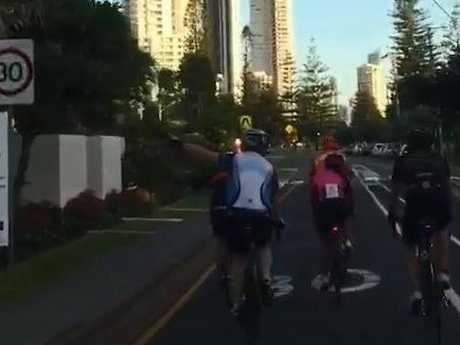 Cyclists riding along Hedges Avenue at Broadbeach. Photo: Supplied