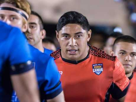 Crowd favourite Jason Taumalolo runs out at Callendar Park in a World Cup trial against Italy.