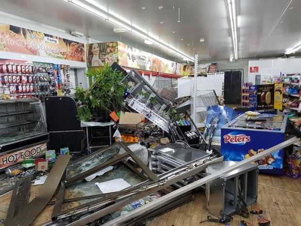 The damage that was done to Glenwood's Pacific Petroleum service station after a ram raid at the business on Friday night.