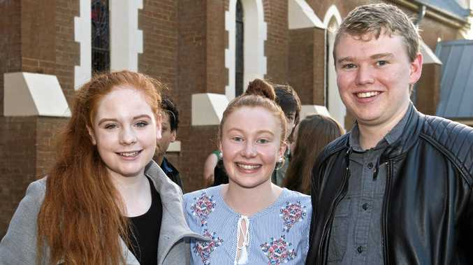 Excited for the show are (from left) Emma Erdis, Rebecca Peake and Connor Campbell.