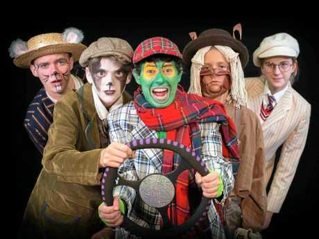 Acting Up! Youth Theatre Academy students with Tristan Bishop as Toad (centre) in The Wind in the Willows.