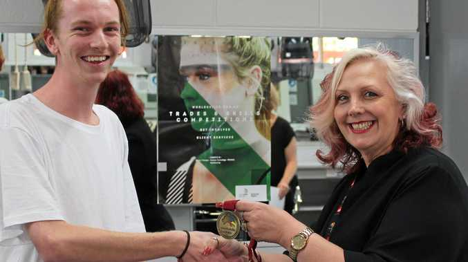 A CUT ABOVE: Maroochydore hairdressing apprentice Damian Gray has won the regional skills competition and advance to the WorldSkills Australia national competition next year in Sydney.