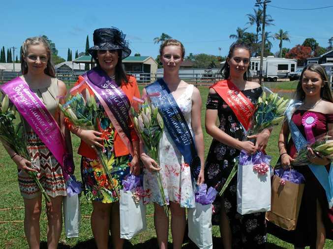Showgirl runner up Maya Layton, winner Mel Chapman, Miss Showgirl winner Erica Kelly, Miss Showgirl runner up Angelina Marchant and Miss Showgirl highly commended Jenna Robinson.