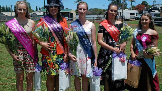 Showgirl runner up Maya Layton, winner Mel Chapman, Miss Showgirl winner Erica Kelly, Miss Showgirl runner up Angelina Marchant and Miss Showgirl highly commended Jenna Robinson.