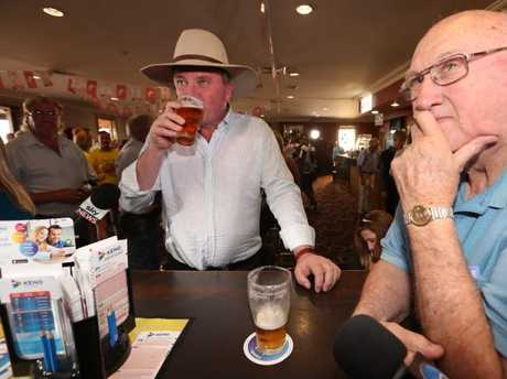 Former Deputy PM Barnaby Joyce begins his re-election campaign talking locals at a pub in Tamworth. Picture: Lyndon Mechielsen/The Australian