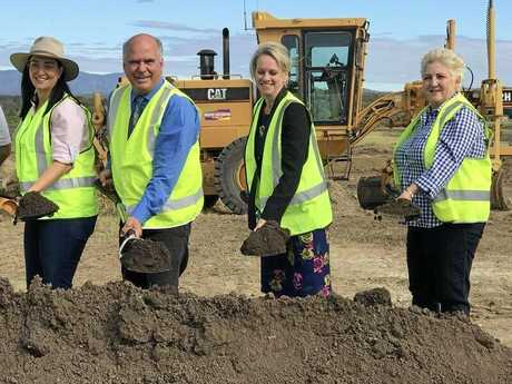 ON THE JOB: Keppel MP Brittany Lauga, Livingstone Mayor Bill Ludwig, Minister for Regional Development Fiona Nash and Capricornia MP MIchelle Landry.