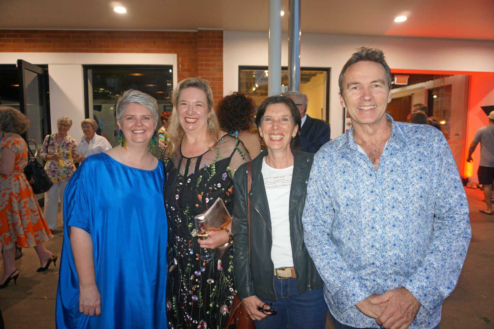 Gold coast City Gallery Director Tracy Cooper, Tweed Regional Art Gallery and Margaret Olley Art Centre director Susi Muddiman, Amanda Bromfield of Lennox Head and Andy Davis of Lennox Head.