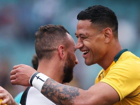 Australia's Israel Folau with Barbarians star Quade Cooper. Picture. Phil Hillyard