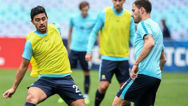 Massimo Luongo training with the Australian Socceroos squad in Sydney earlier this month. Picture: AAP