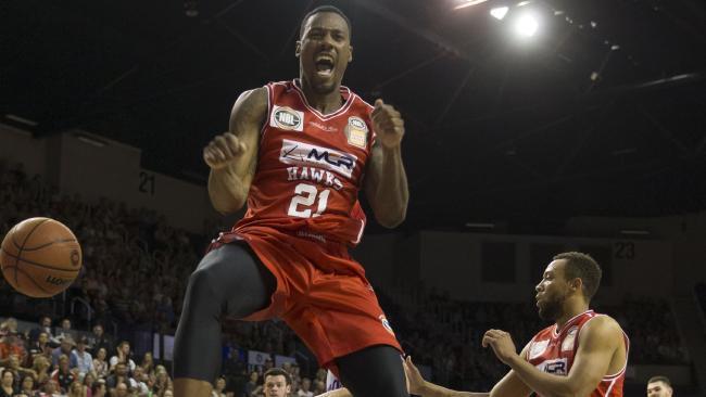 Delvon Johnson celebrates a massive dunk.