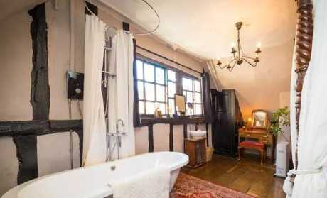 "The bathroom of ""The Chamber"". Picture: Airbnb"