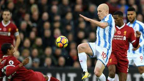 Aaron Mooy's Huddersfield Town found Liverpool too good in the English Premier League. Picture: Getty Images