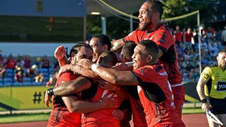 It was a banner day for the Tongans.