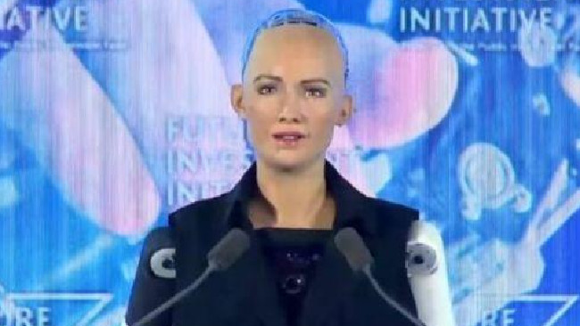 Sophia the robot was given Saudi citizenship. Picture: YouTube/Arab News
