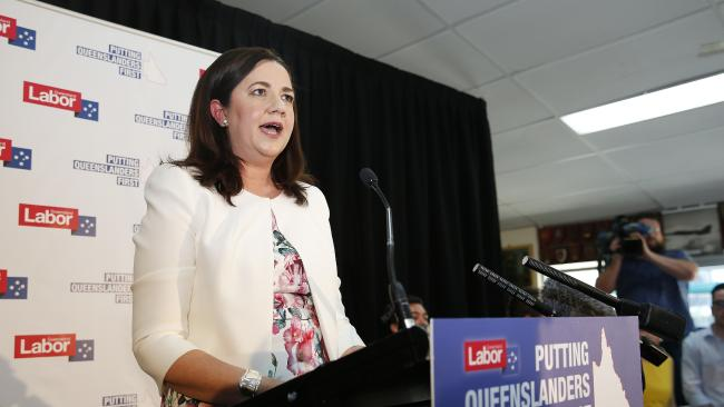 Queensland Premier Annastacia Palaszczuk pictured announcing the state election at the Darra Bowls Club. Picture: AAP/Josh Woning