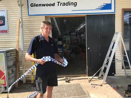 Manager of Glenwood's Pacific Petroleum service station Chris Yates looks at the damage that was caused to the business after a late-night ram raid.