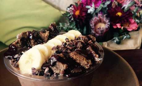 A chocolate banana smoothie bowl from Full of Life Organics.