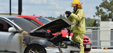 A car caught fire on the top of the Grand Central Shopping Centre on Monday, October 30.