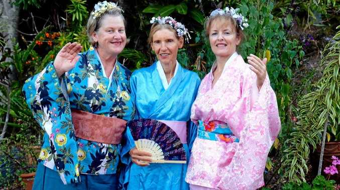 Chillingham Voices' Rowena Oldham, Jenny Curnow and Maggie Morrison get ready for their Mikado performances in November.