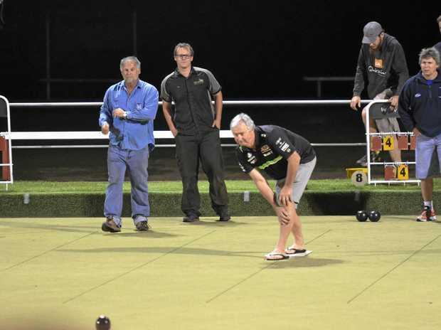 KEEP ROLLING: Danny Hurt at Corporate Bowls at Kingaroy Bowls Club.