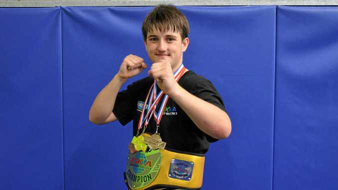 CHAMPION: Thomas Hardy earned two world champion belts at the ISKA World Cup in Sydney.