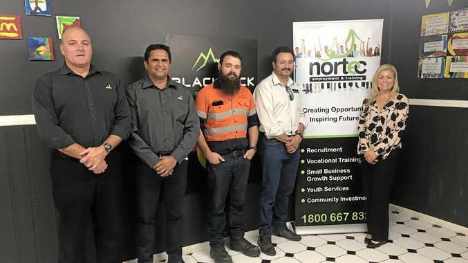 NEW DEAL: Blackrock's Richard Fleming, Nicky Winmar, Steve Fordham, Glen Finnan with NORTEC's Simone Nelson.