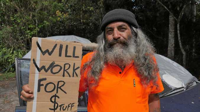 SORRY STATE: Craig Thuma is living out of his car desperate for work. He doesn't want charity, just a job.