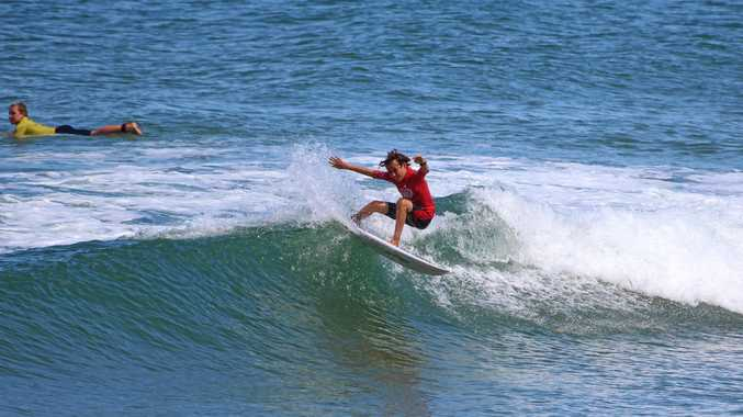 Suffolk Park surfer Touma Cameron won his age division at the Wahu Grom competition at Coffs Harbour.