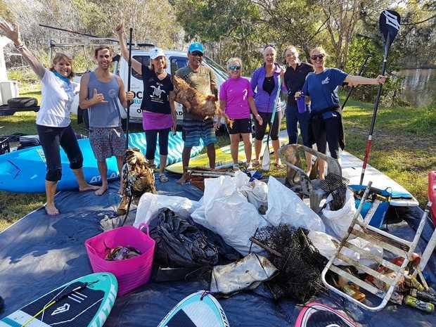 PADDLE AGAINST PLASTIC: The Ocean Crusaders group picked up 107kg of debris from Stumers Creek.