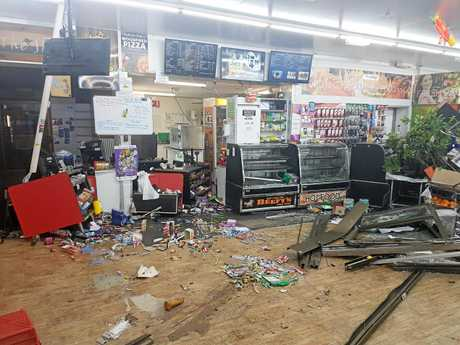 Equipment was wrecked and stock damaged throughout the retail area.