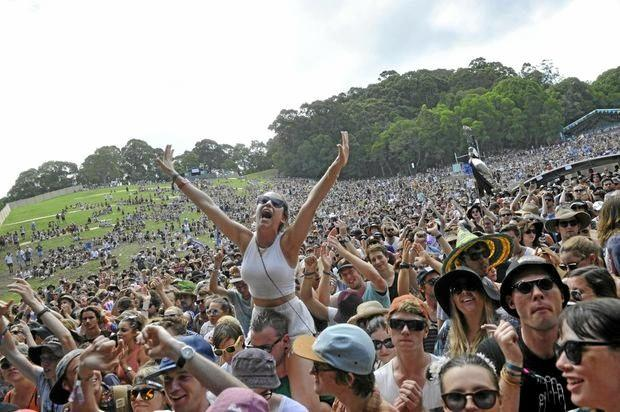 SHOWING OFF: Fans at Falls Festival in Byron Bay last year have fun in the sun.