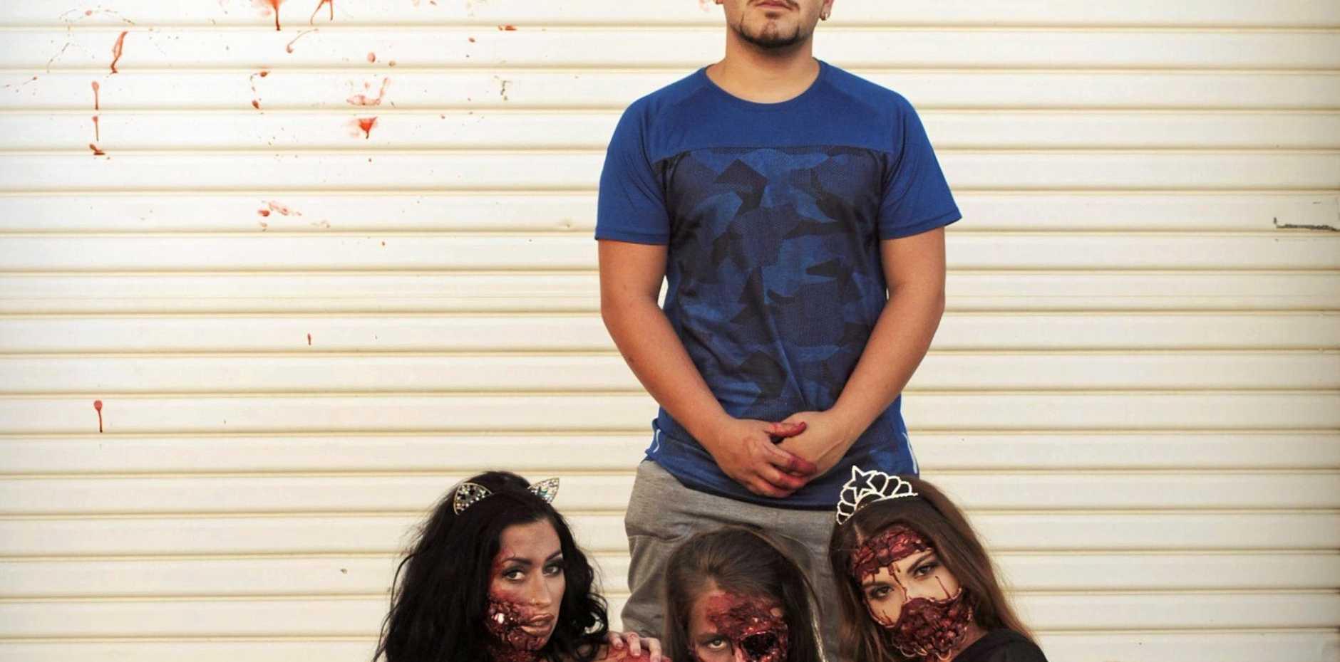 FACE OFF: Jake Ziano with models (L-R) Aleisha Balfoort, Lydia Lara and Chynna Williams.
