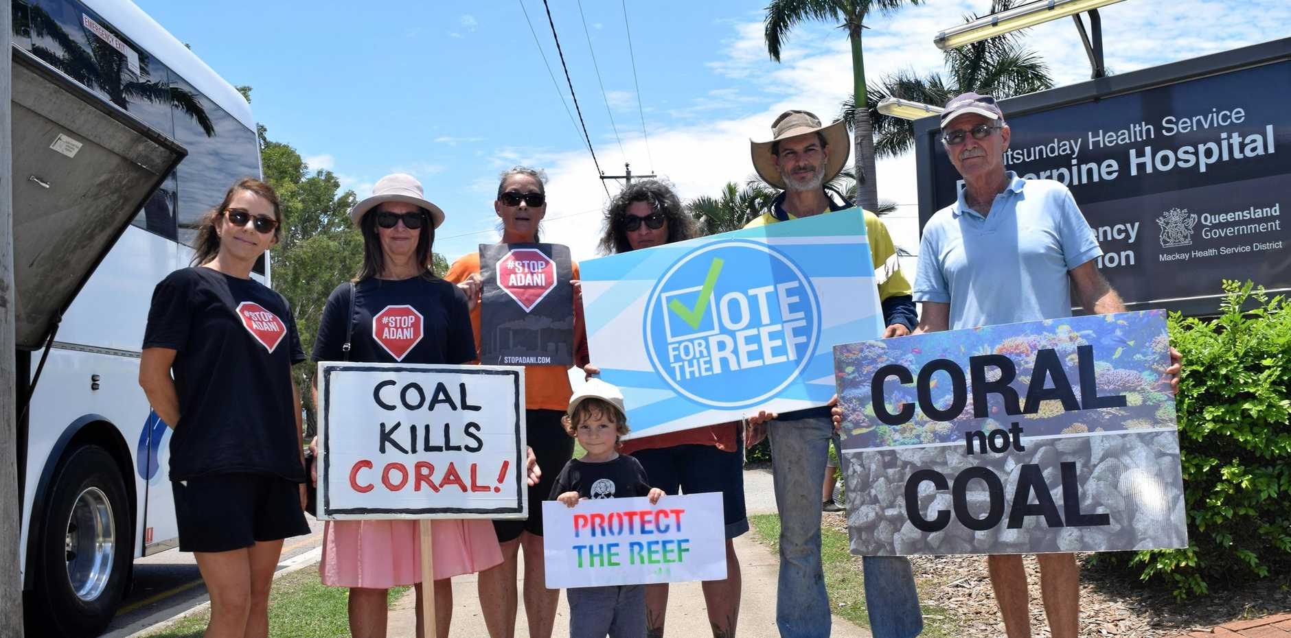 A group of anti-Adani protesters outside the Proserpine Hospital today as Queensland Premier Annastacia Palaszczuk made an announcement.
