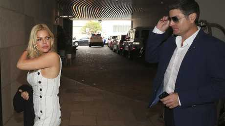 Sophie Monk arrives at QT Bondi with Stu Landy. Picture: Dylan Robinson