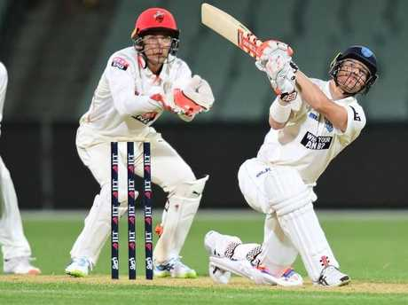 David Warner hits over cover on his way to 83 for NSW.