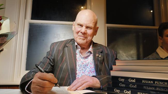 Julian Punch signing copies of his book, Gay with God: The Life and Times of a Turbulent Priest. Picture: MATHEW FARRELL