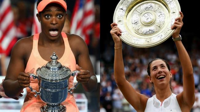 US Open winner Sloane Stephens (L) and Wimbledon champion Garbine Muguruza (R) will play in the Brisbane International.