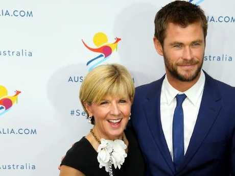 Chris Hemsworth was announced as Tourism Australia's New Global Ambassador at the Tourism Australia Global with Australian Foreign Minister Julie Bishop. Picture: Nathan Edwards