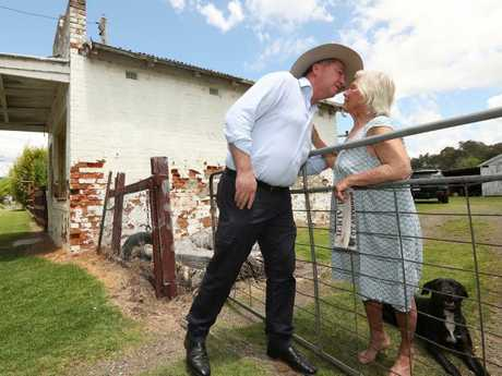 Former Deputy PM Barnaby Joyce on the campaign hustings has a surprise meeting with an old friend Mrs Jill Skewes, 87, in Bundameer, north of Tamworth. Picture: Lyndon Mechielsen/The Australian